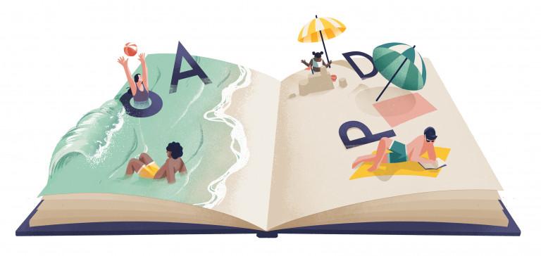 Boek dat een zomers strand voorstelt